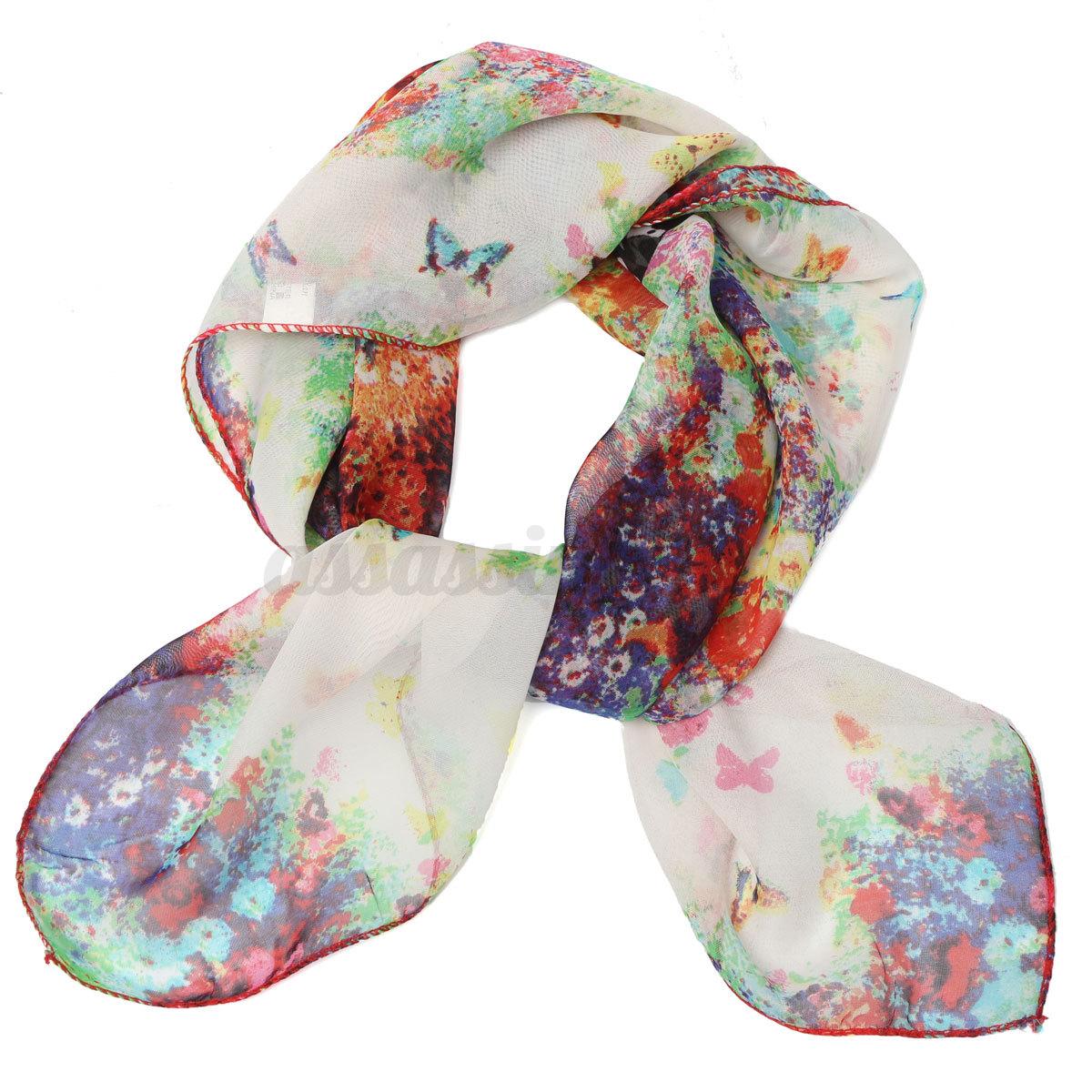 soft silk chiffon scarf small square flower