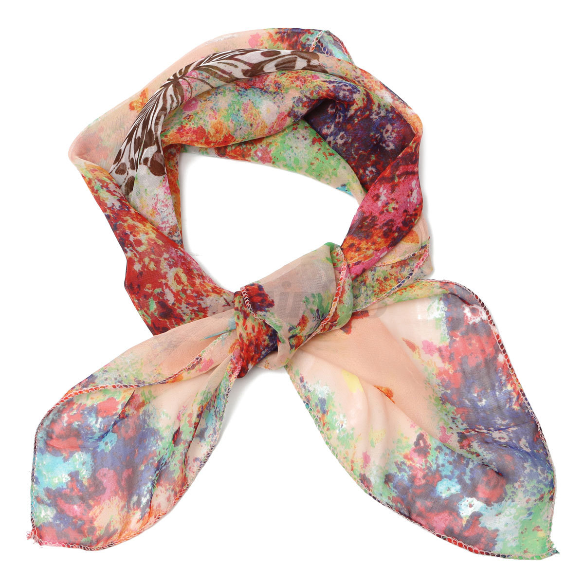 soft silk chiffon scarf small square flower