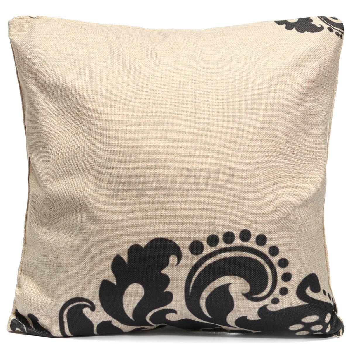 Black Linen Throw Pillows : Vintage Black White Cotton Linen Throw Cushion Cover Pillow Case Home Decor Y eBay