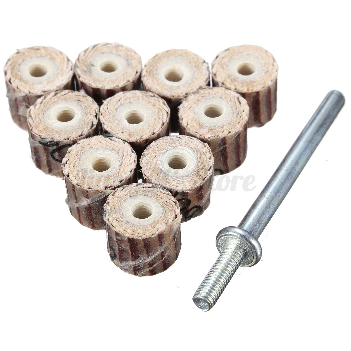10pcs flap wheel disc shaft abrasive sanding drill polish rotary new ebay. Black Bedroom Furniture Sets. Home Design Ideas