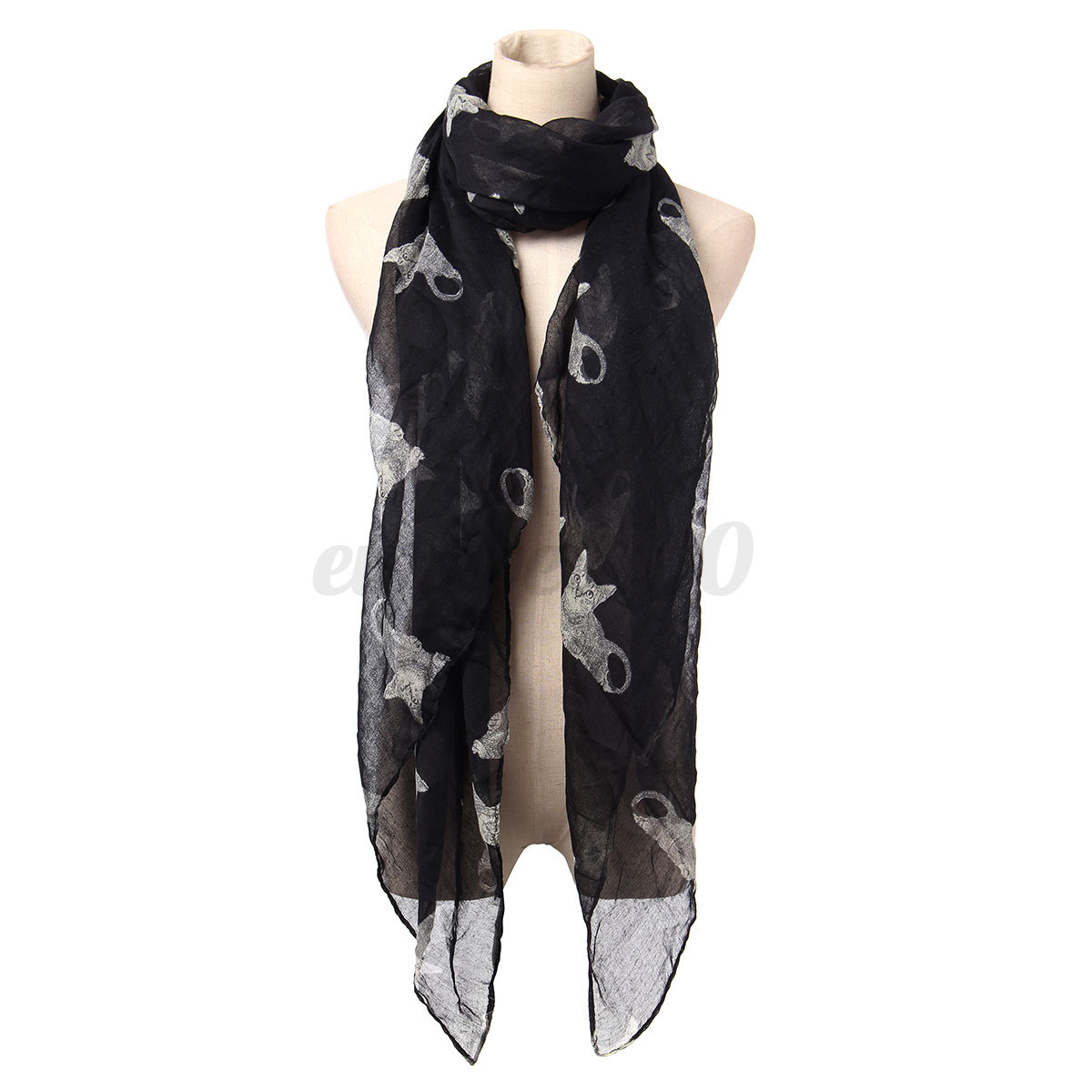 Fashion Women Cat Animal Print Winter Long Warm Scarf Shawl Wrap Stole Pashmina