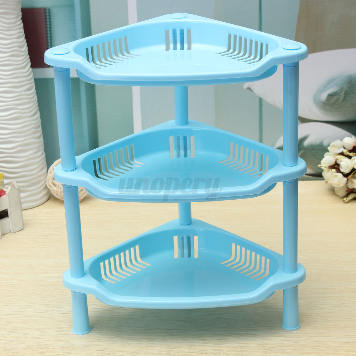3 TIER PLASTIC CORNER SHELF STORAGE CADDY SHOWER BATHROOM KITCHEN ...