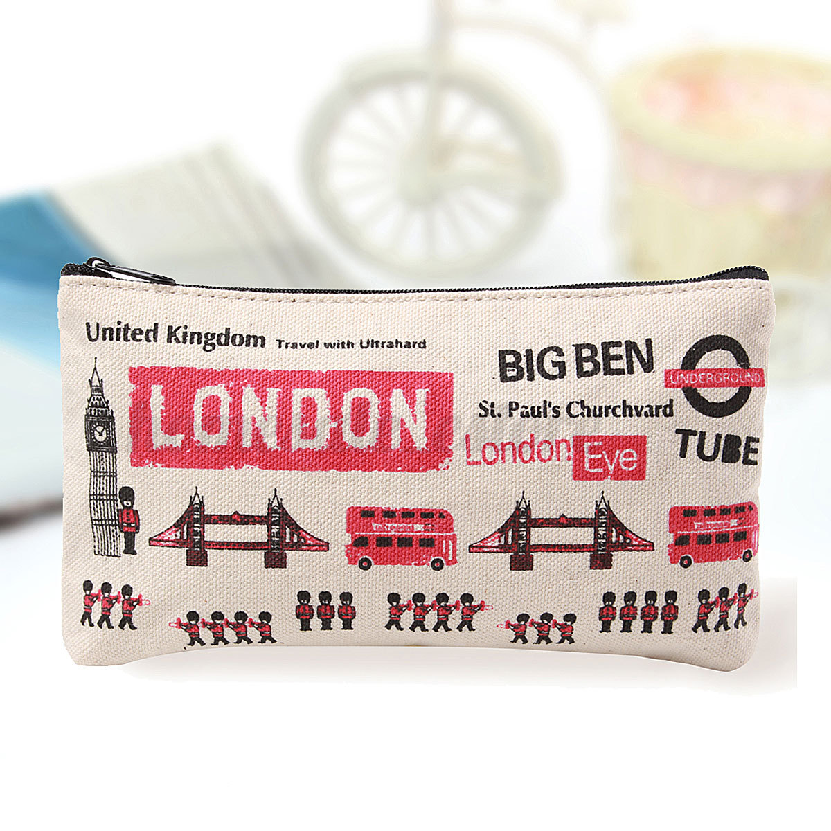 London Canvas Pen Pencil Case Cosmetic Travel Makeup Bag Coin Wallet Purse HOT