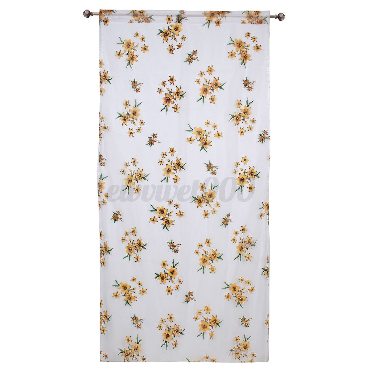 Floral Tulle Voile Door Divider Window Curtain Drape Panel Sheer Scarf Valances