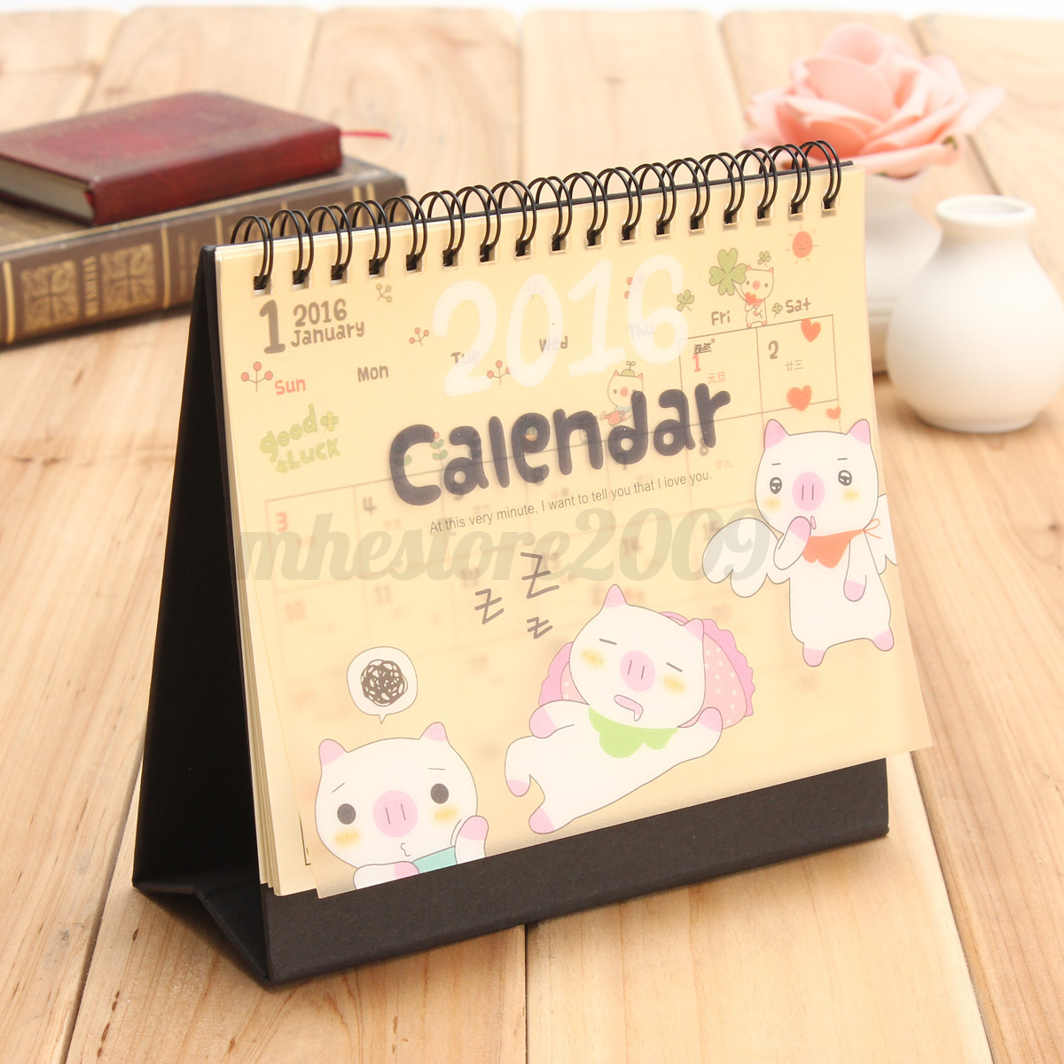 Table Calendar 2016 : New cartoon calendar desk table office flip stand