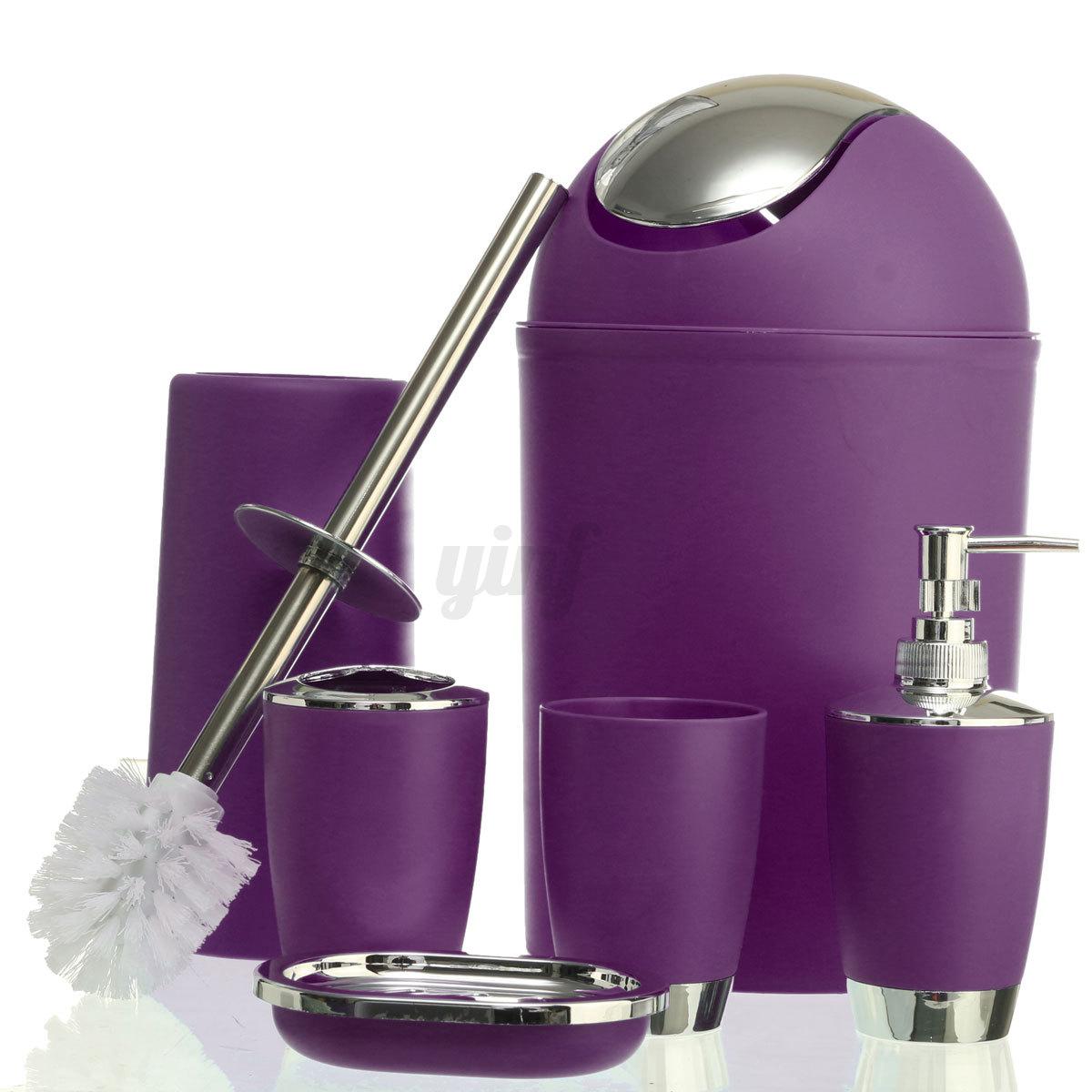 Purple Bathroom Bin 6pcs Bathroom Accessory Set Soap Dish Dispenser Bin Tumbler