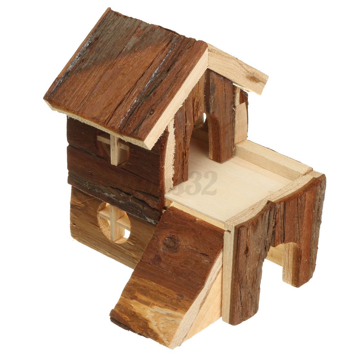Wooden house villa cage exercise toy for hamster hedgehog for Wooden guinea pig cage