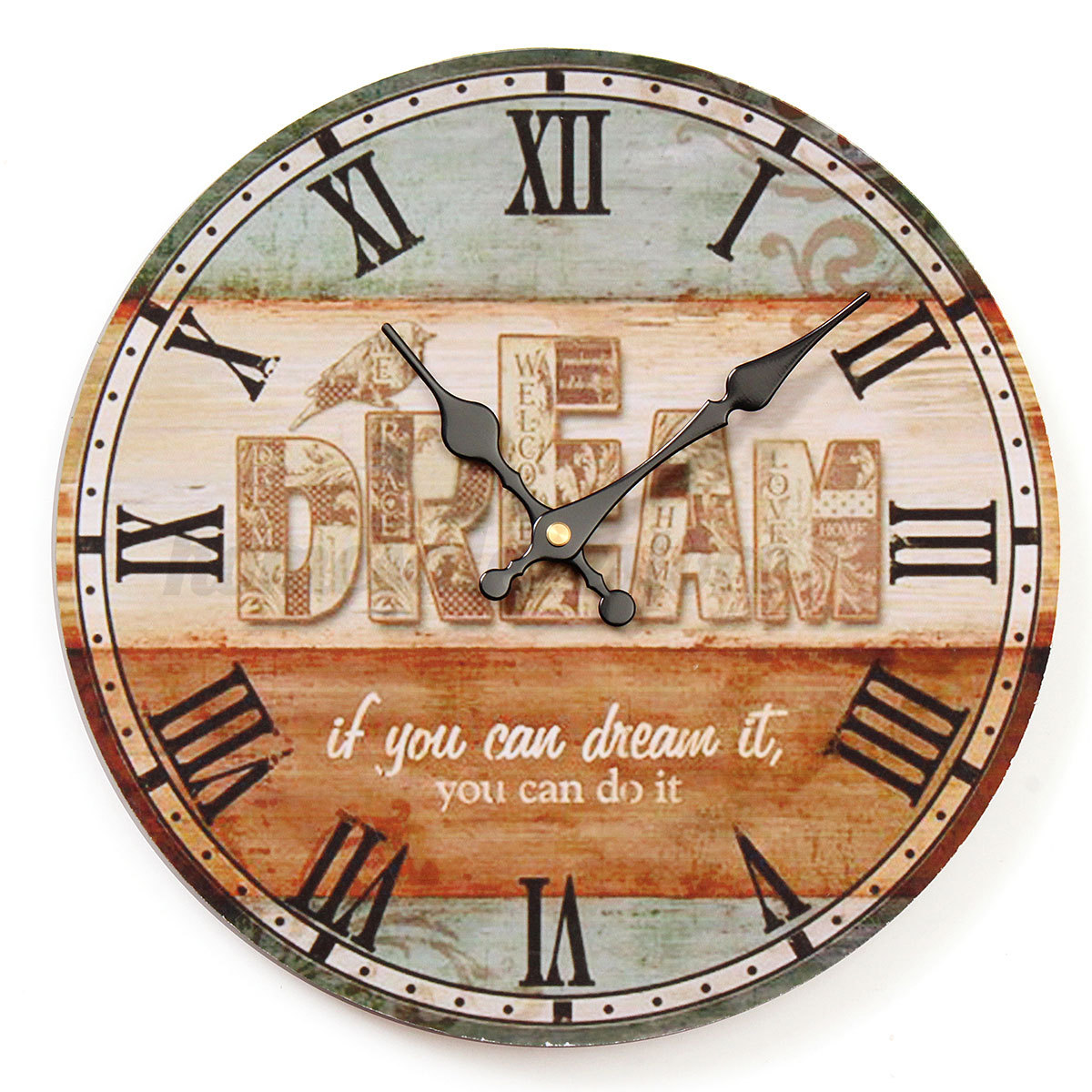 large vintage rustic wooden wall clock kitchen antique shabby chic retro home ebay