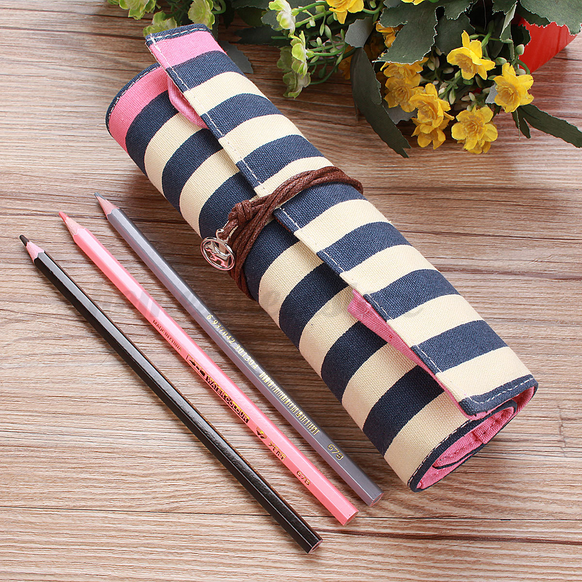 Student Stationery Canvas Roll Up Pencil Pen Case Brush Wrap Cosmetic Bag HOT