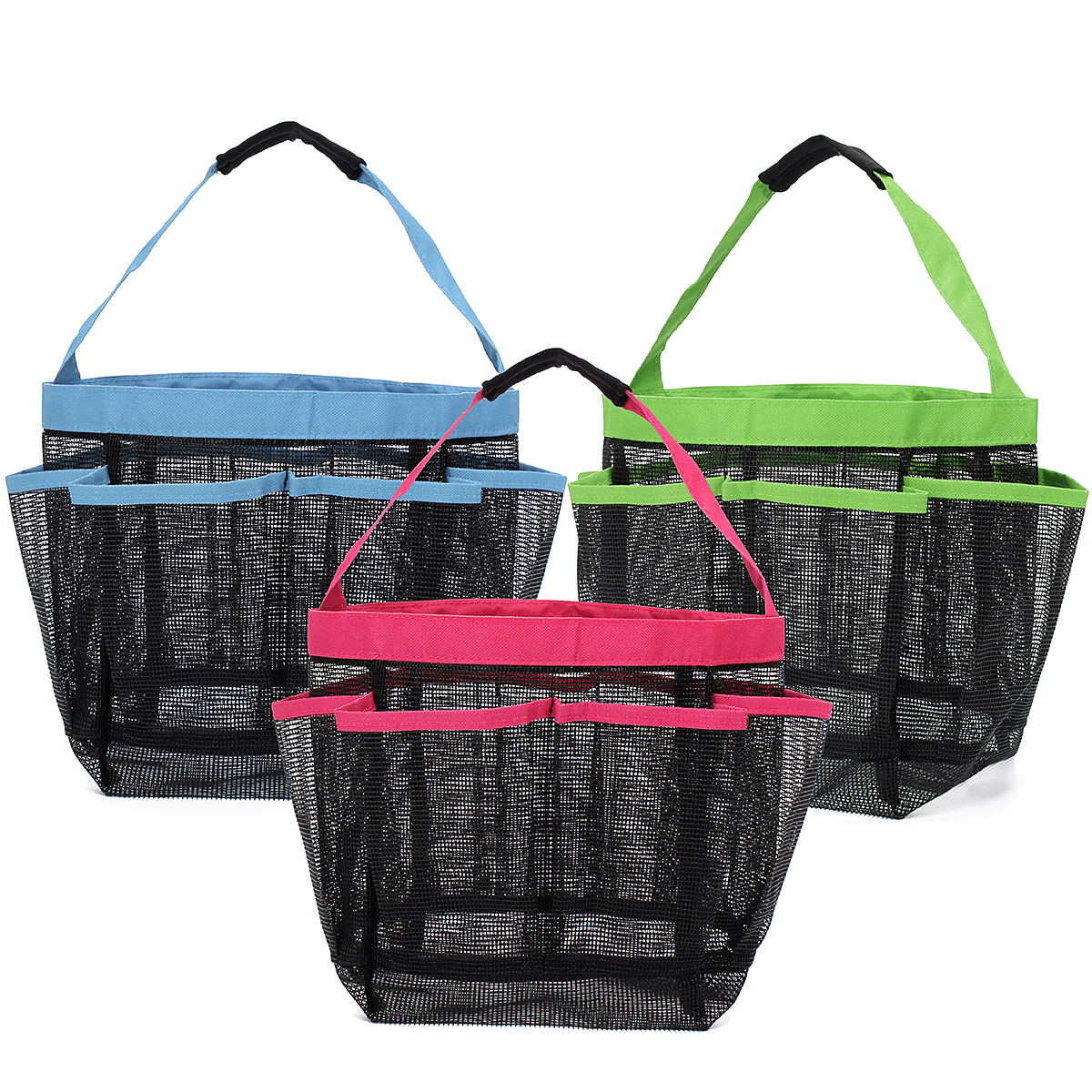 8 Pockets Shower Caddy Mesh Portable Quick Dry Travel Tote