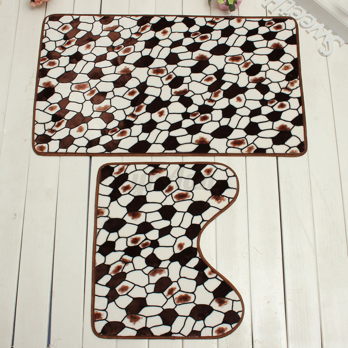 Kit tapis de bain carpette moquette absorbant antid rapant for Moquette pour salle de bain