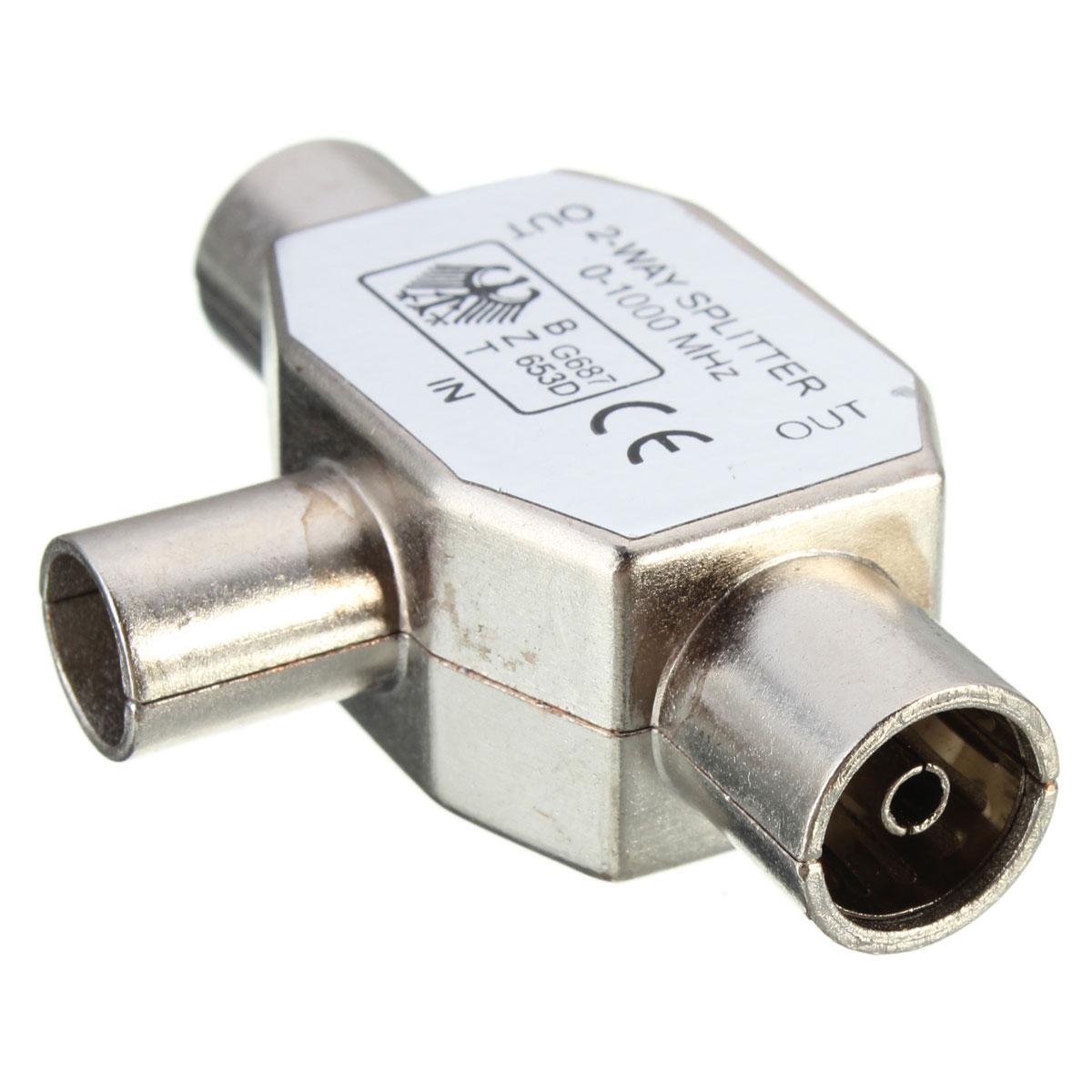 2 way metal splitter 1 male plug to 2 female socket for tv. Black Bedroom Furniture Sets. Home Design Ideas