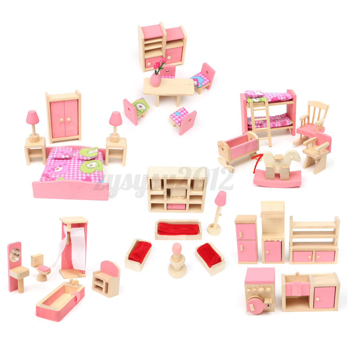 6 set rooms 6 dolls wooden furniture doll house family miniature kids children ebay Dolls wooden furniture