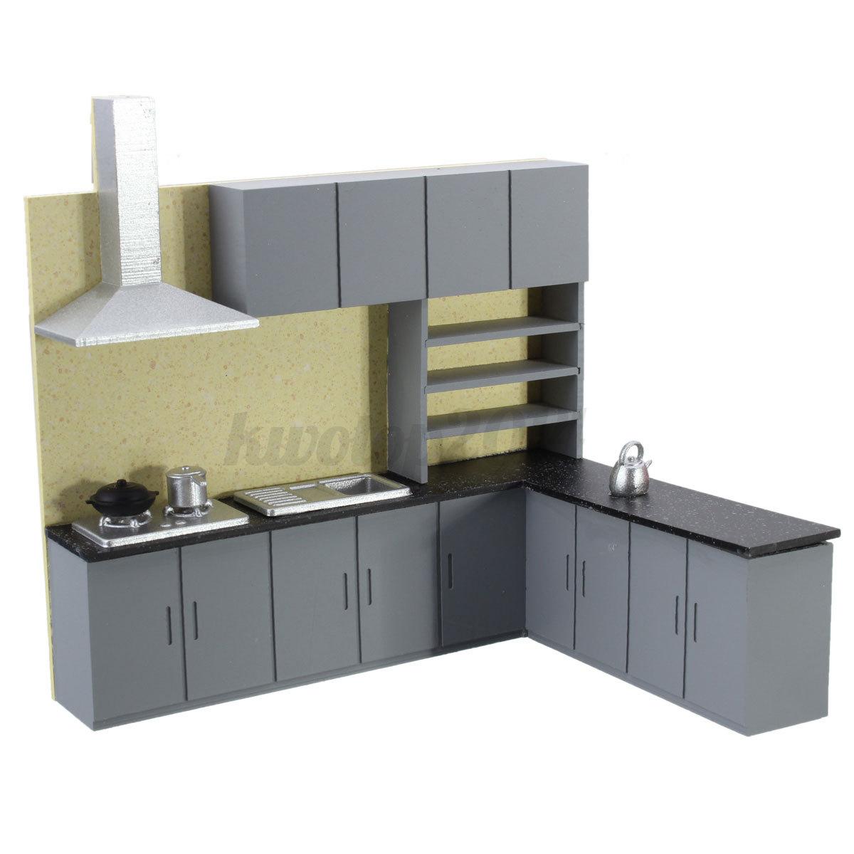 miniature kitchen cabinet set model kit furniture for art dollhouse 1 25 scale. Black Bedroom Furniture Sets. Home Design Ideas