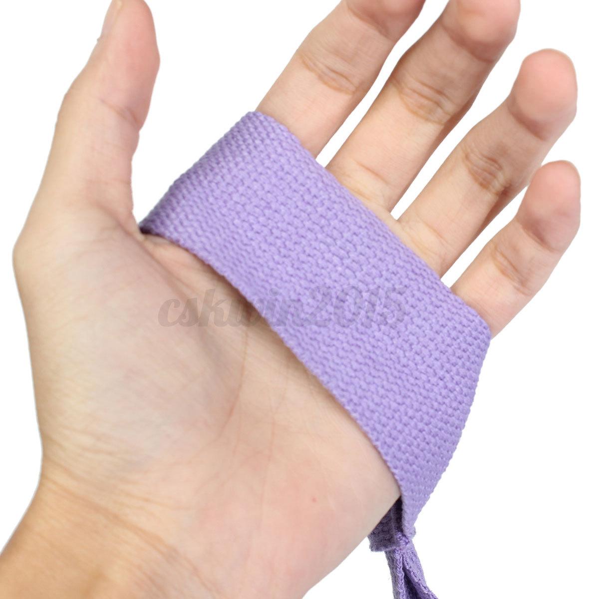 Purple Soft Cotton Elastic Yoga Pilates Mat Looped Sling