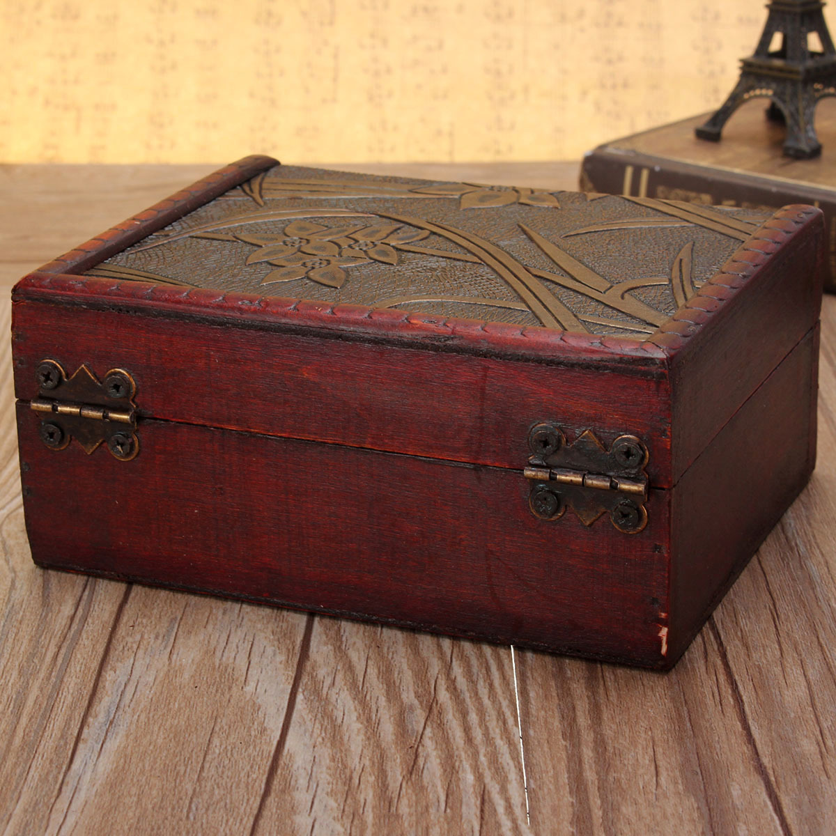 Vintage Wooden Trinket Storage Jewelry Gift Box Earring