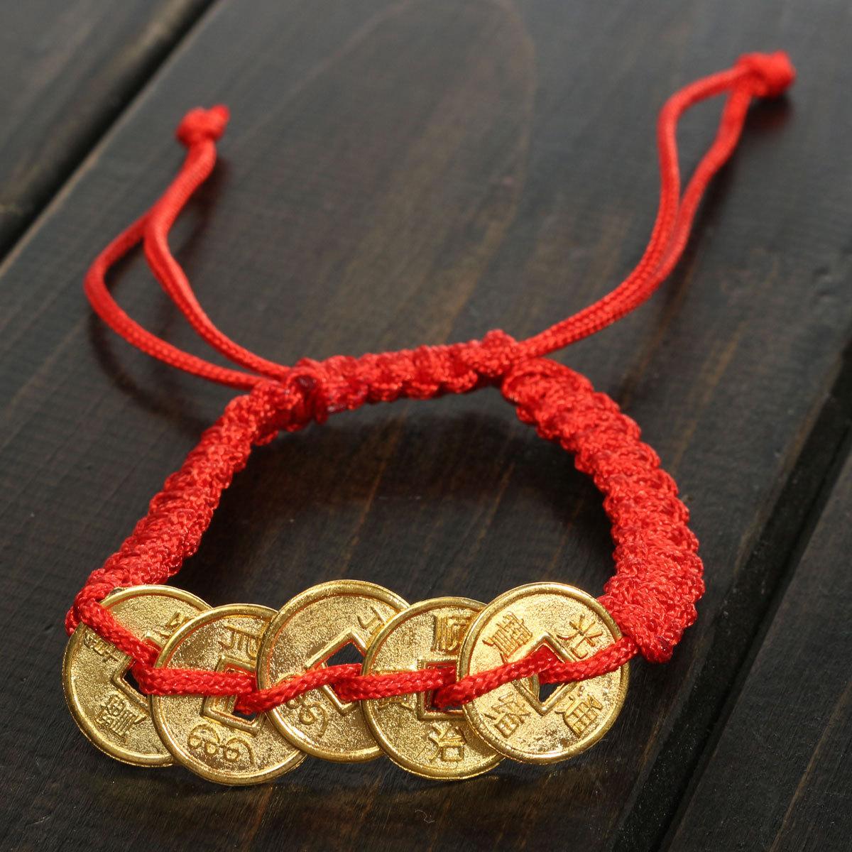3 estilo feng shui rojo lucky coin pulsera con dijes de for Feng shui para la buena suerte