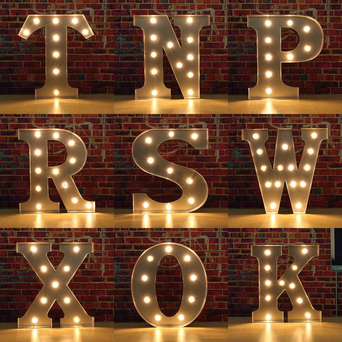 Luz led letra alfabeto carnaval vintage circo luz metal for Letras decoracion metal