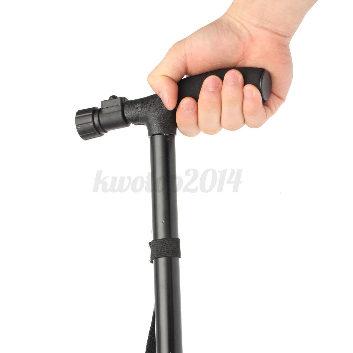 adjustable handle folding smart cane with led lights. Black Bedroom Furniture Sets. Home Design Ideas