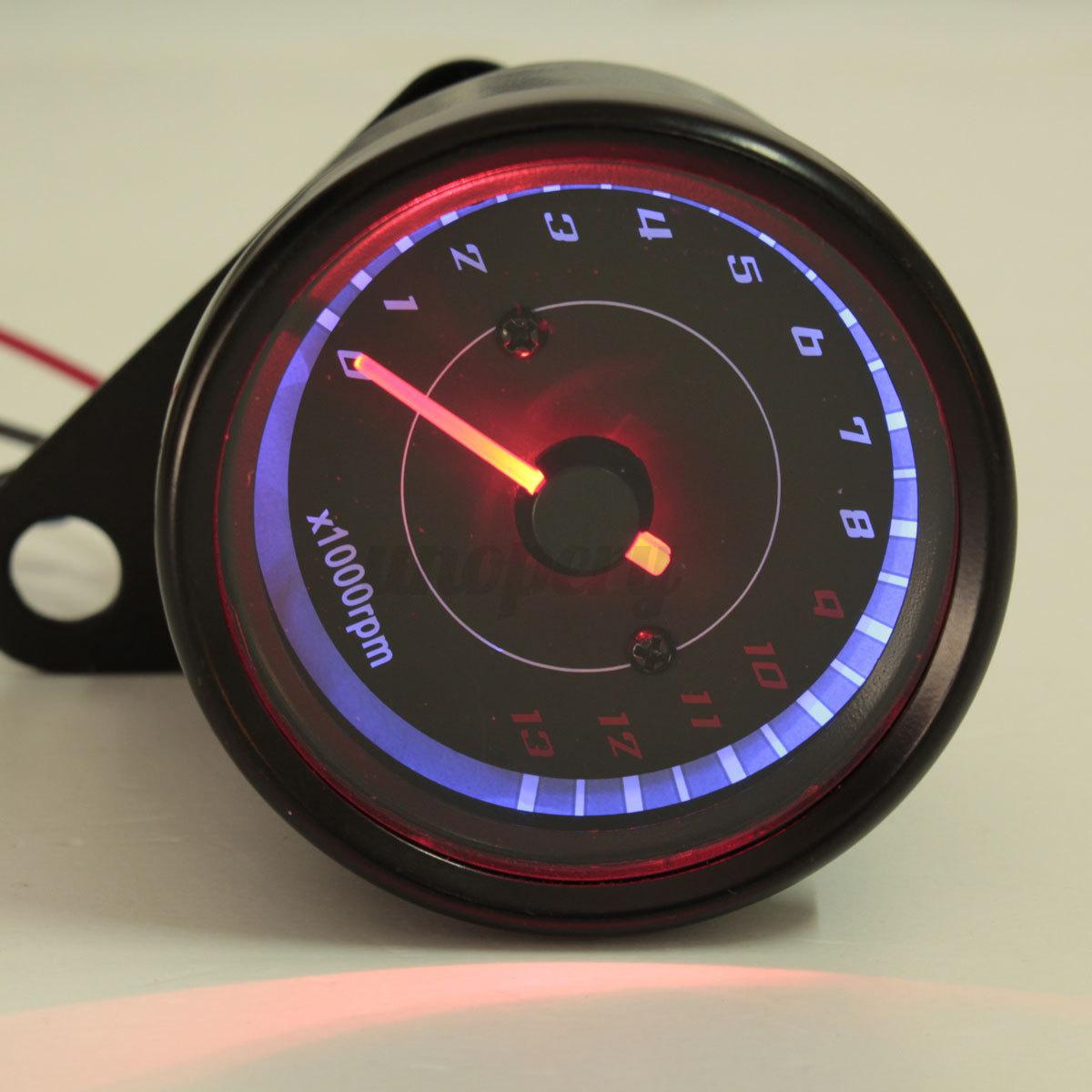 universal black motorcycle led tachometer bike backlight. Black Bedroom Furniture Sets. Home Design Ideas