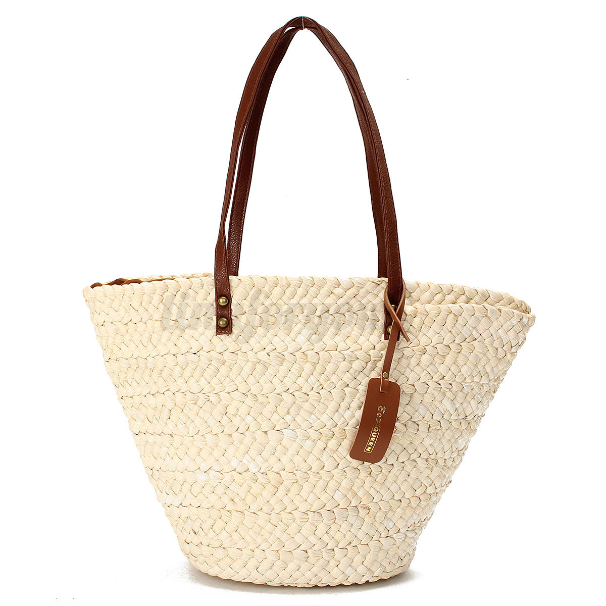 Women's White Straw Beach Bag Lady Shoulder Bag Tote Outdoor ...