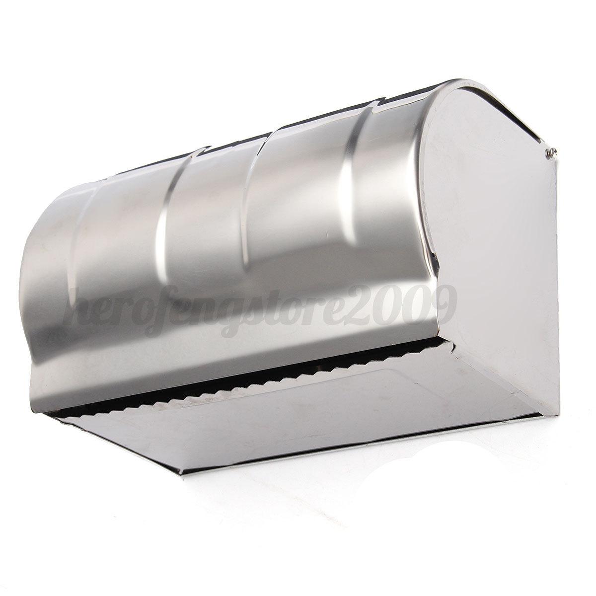 toilet roll bathroom tissue paper dispenser holder box wall mounted stainless ebay. Black Bedroom Furniture Sets. Home Design Ideas