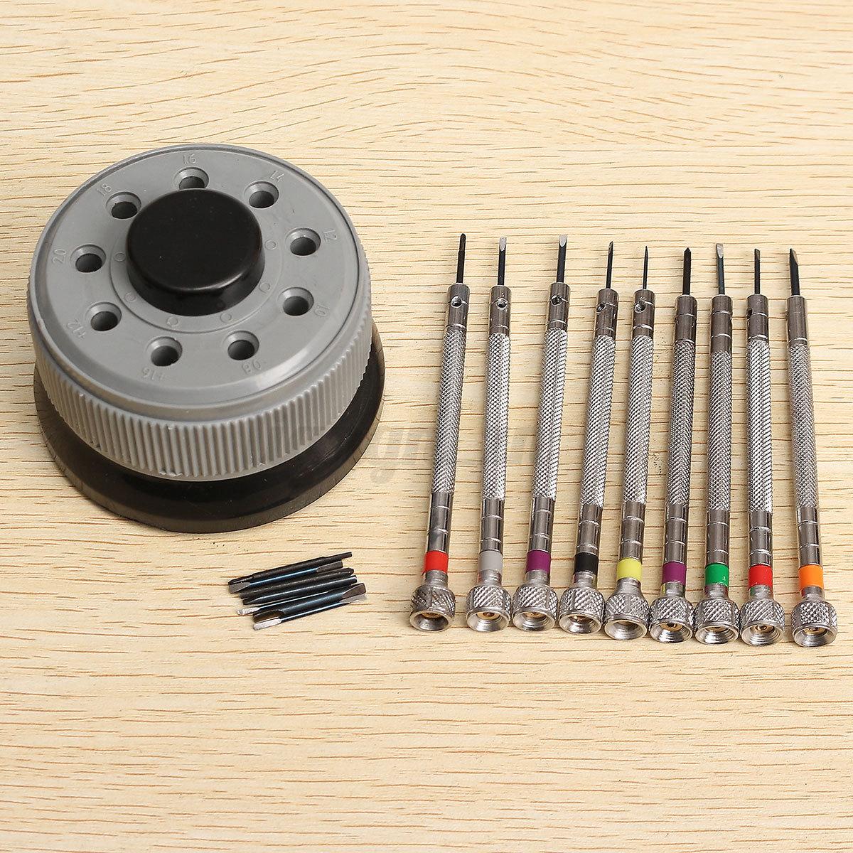 kit 9pcs tournevis pr cision outil r paration montre horloger screwdriver base ebay. Black Bedroom Furniture Sets. Home Design Ideas