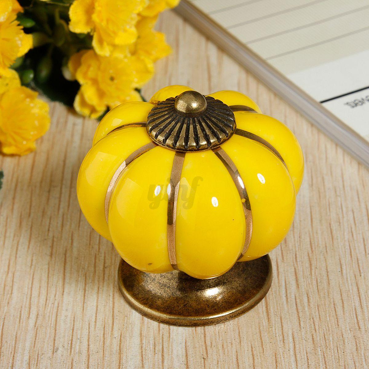 Vintage Pumpkin Ceramic Door Knobs Cabinet Drawer Cupboard ...