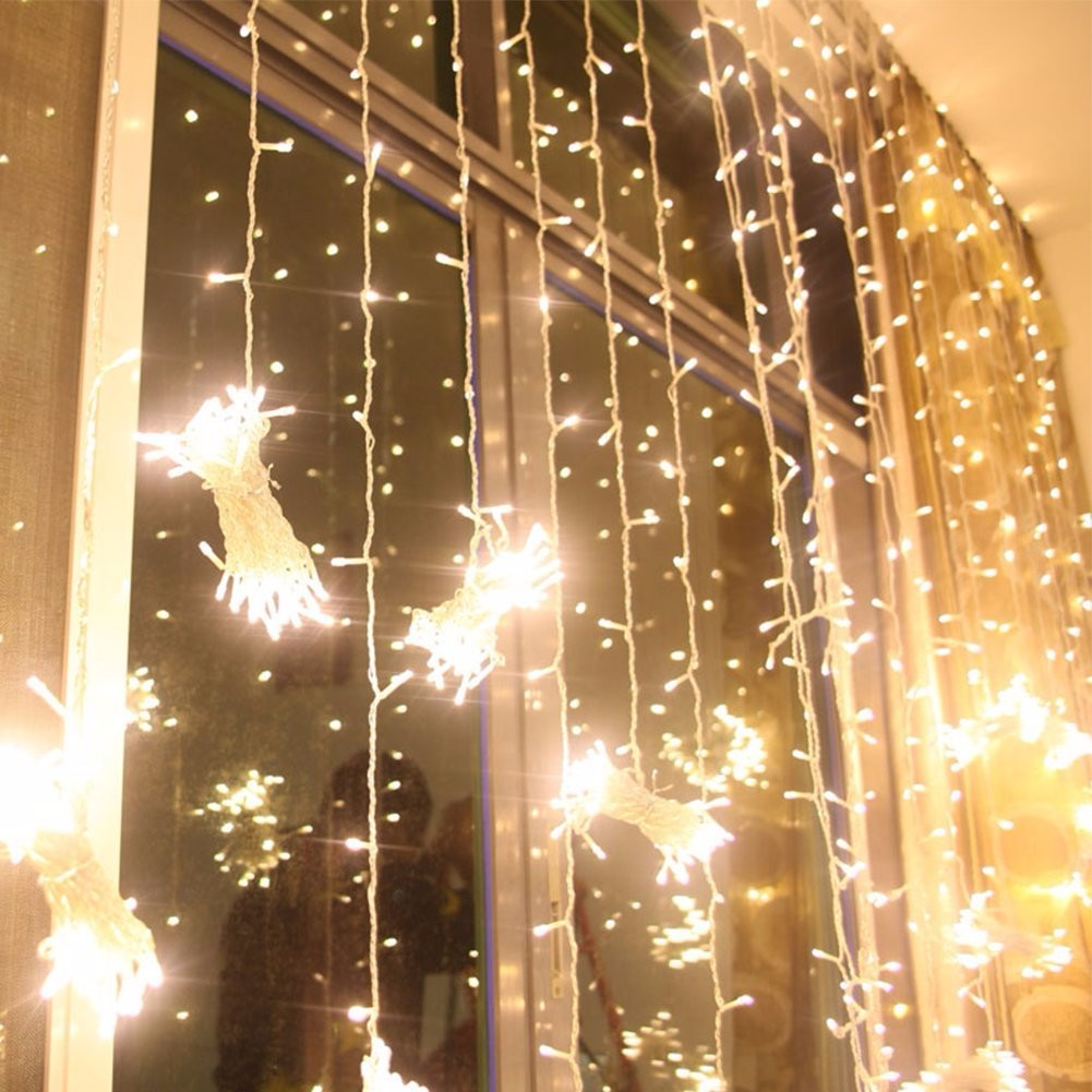 Warm White 3M 3M 300 LED Christmas Fairy Curtain Waterfall