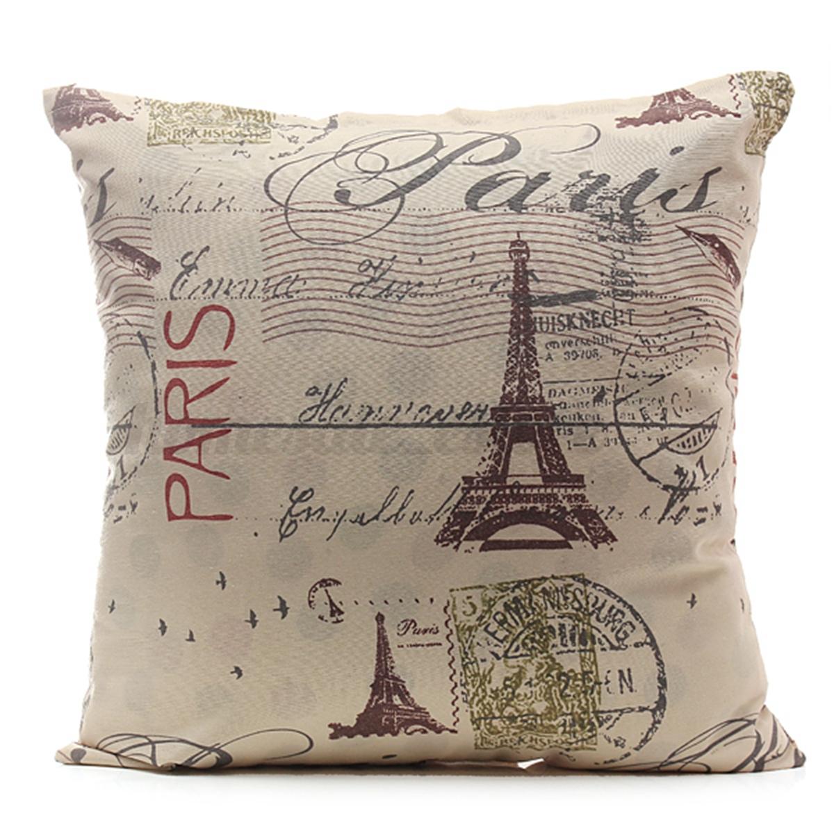 Throw Pillow Covers Linen : Vintage Square Linen Cotton Throw Pillow Case Cushion Cover Home Sofa Car Decor eBay