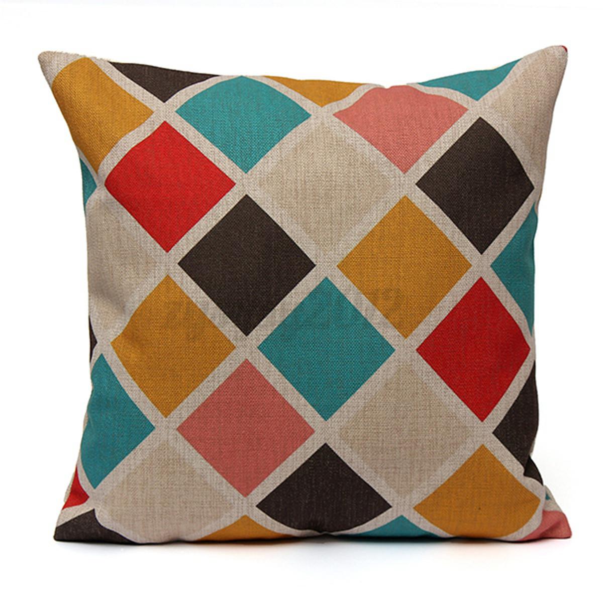 geometric flower vintage cotton linen pillow case cushion co