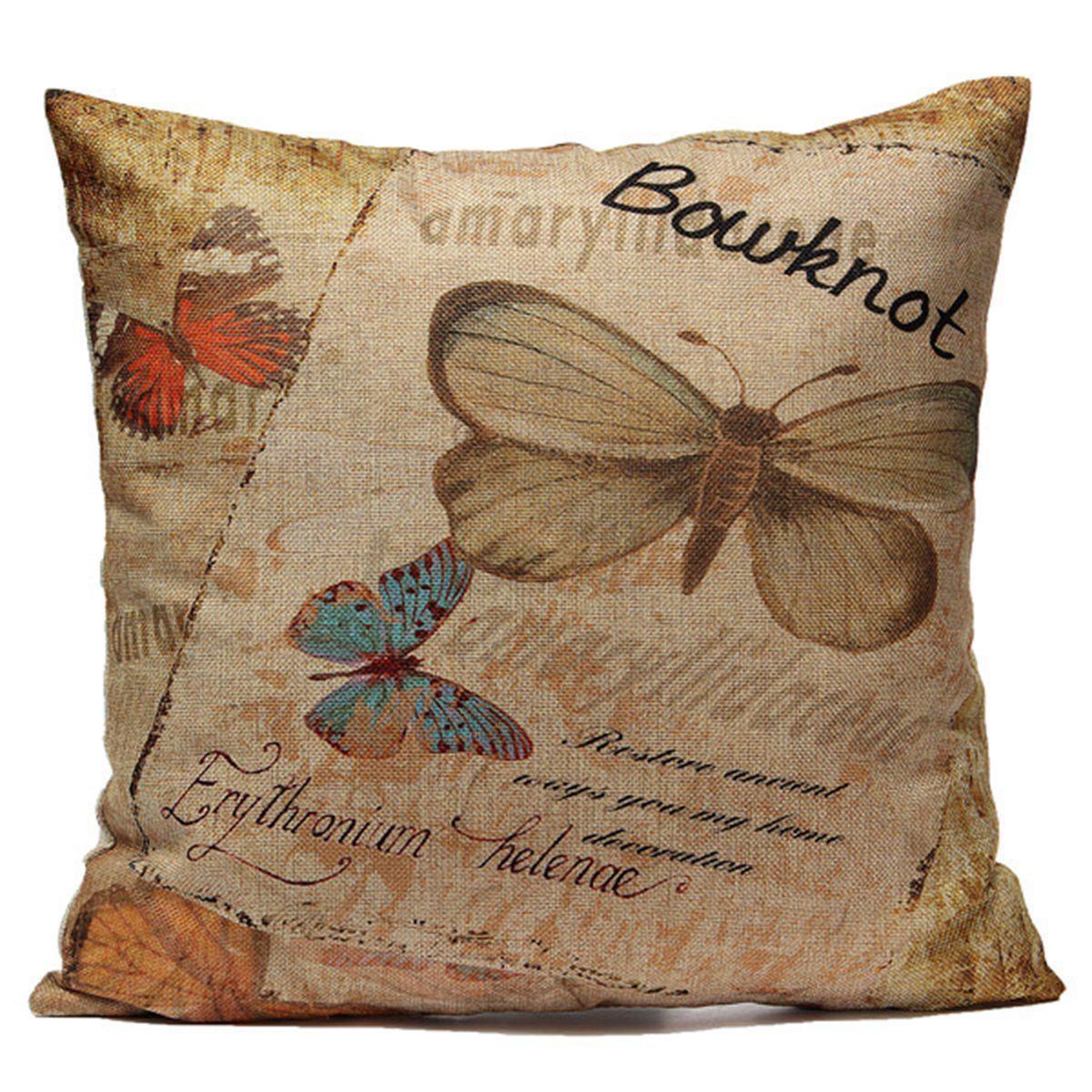 Butterfly Flower Classic Cotton Linen Cushion Cover Throw Pillow Case Home Decor eBay