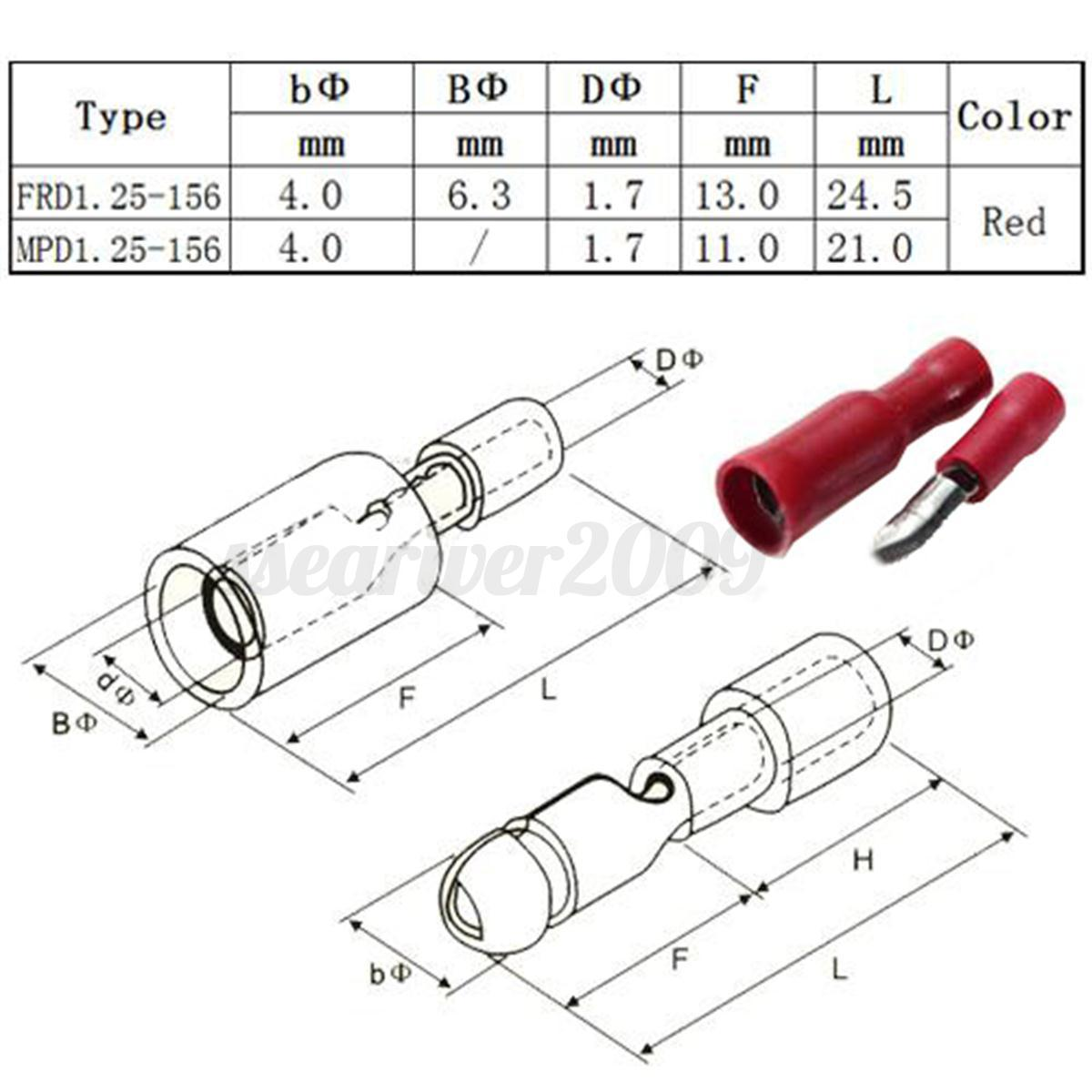 100pcs red insulated female u0026male bullet butt connector