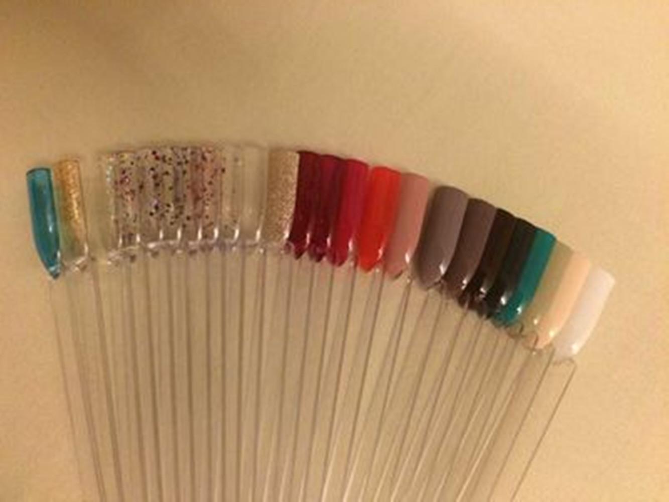 50pcs Nail Art Tips Colour Pop Sticks Display Fan Clear False