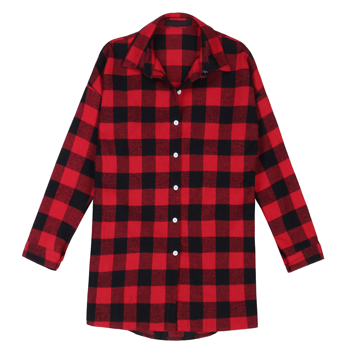 Uk 8 26 women oversize black white plaid collared button for Plaid button down shirts for women