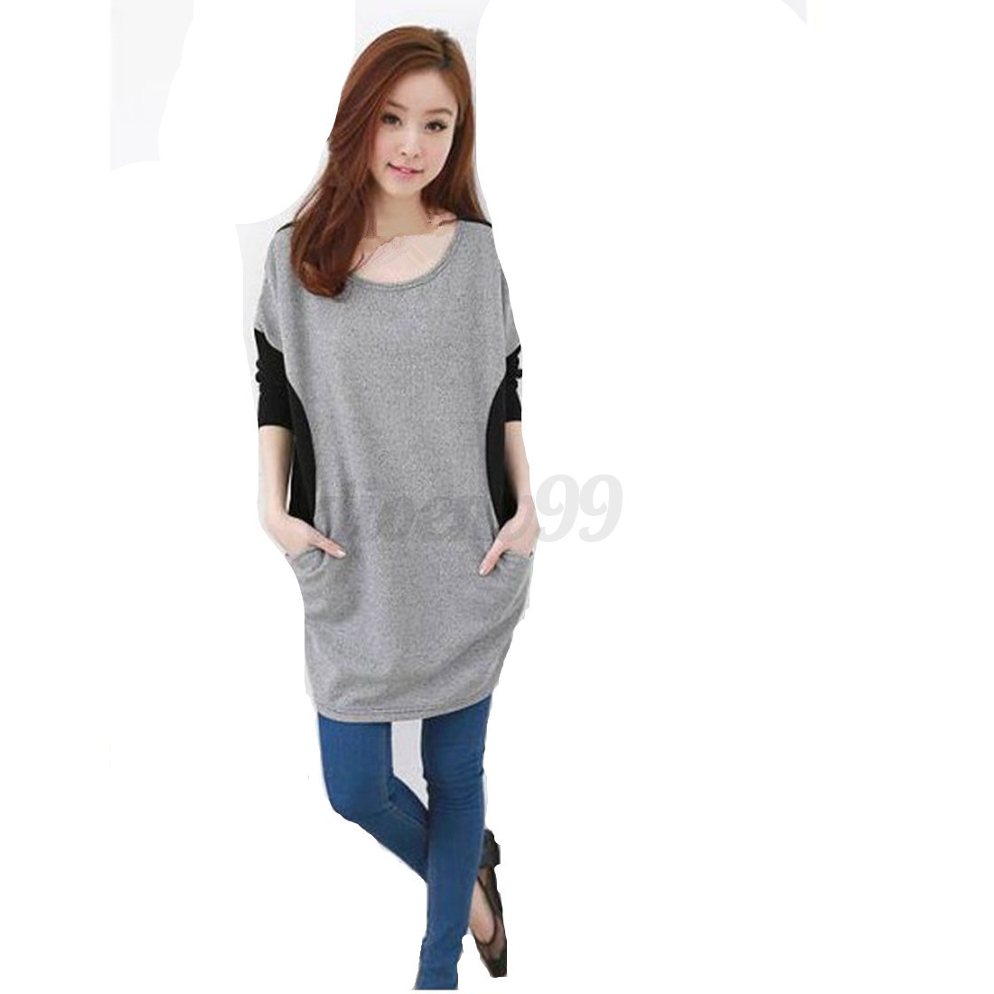 Women Girl Casual Plain Cotton Long Sleeve Blouse Tops T ...