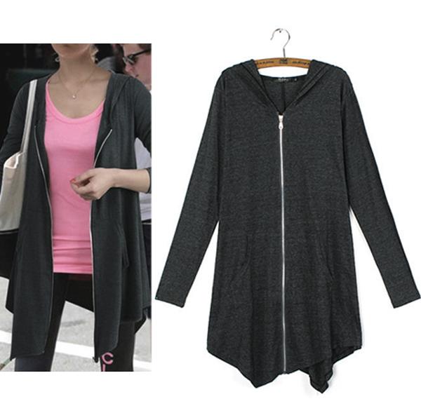 Women Oversized Zip Long Sleeve Fleece Hoodie Coat Jumper Parka TOPS Jacket 8-24