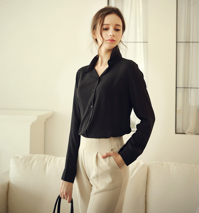 New Womens Chiffon Slim T Shirt Solid Long Sleeve Blouses Collared Casual Tops