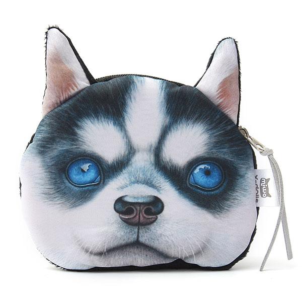 3D Dog Face Print Coin Bag Wallet eyes  Zip Pocket Purse Pouch Clutch Handbags