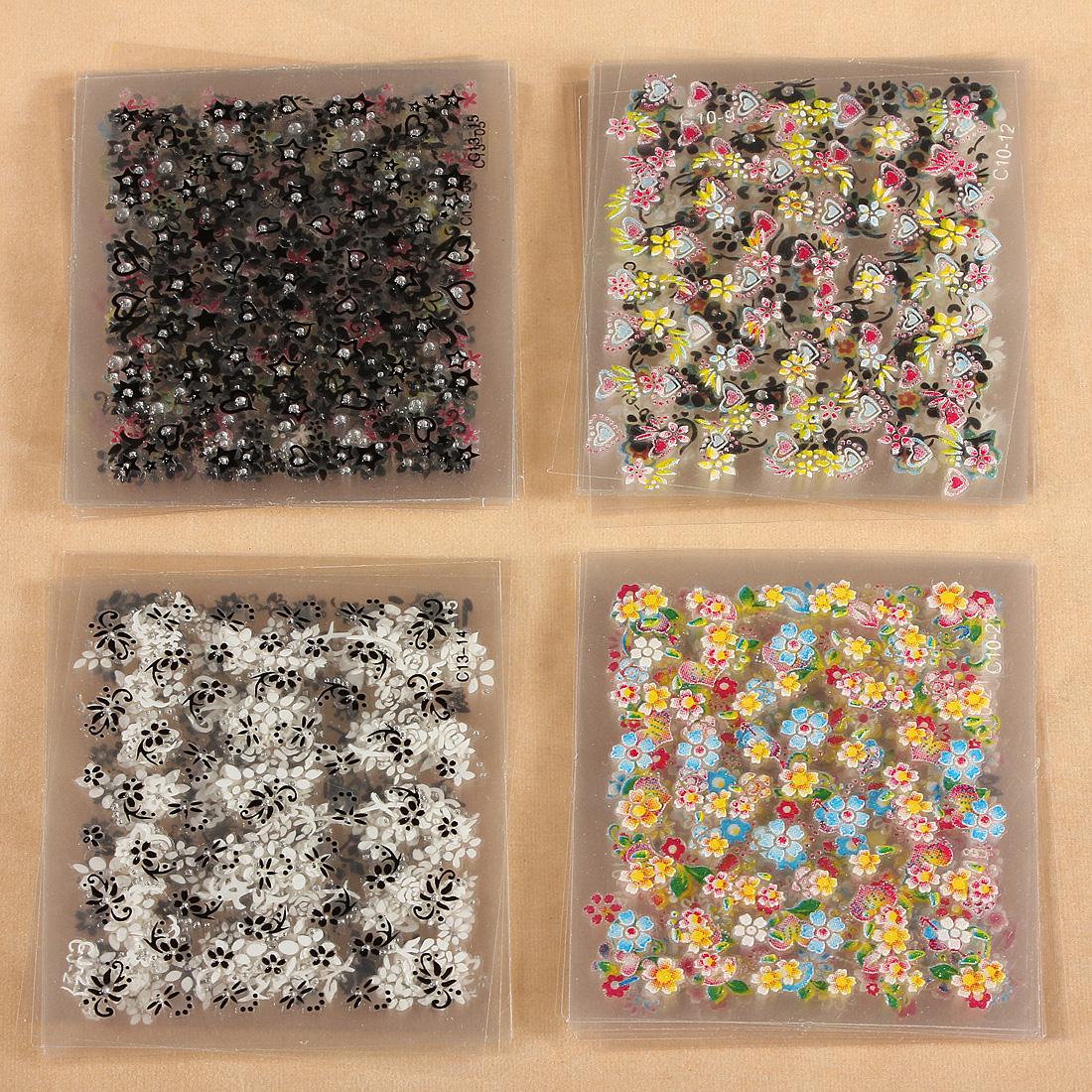 10/30/50 Sheet 3D Pizzo Fiore Nail Art Manicure Unghie Tips Design Decorazione