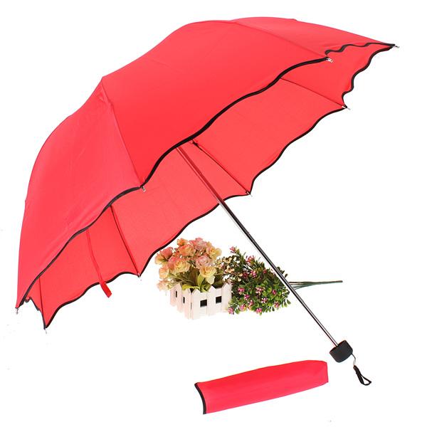 Sun/Rain Lady Flouncing Princess Dome Parasol Folding Umbrella Lotus Leaves Wave