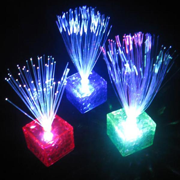 led glasfaser deko party fiber lampe licht nachtlicht mit 7 wechselnden farben ebay. Black Bedroom Furniture Sets. Home Design Ideas