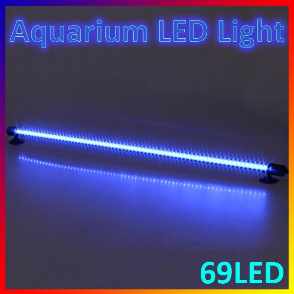 Blue White 62cm 69 LEDs Aquarium Fish Tank Bar Light Waterproof Stick Strip Lamp