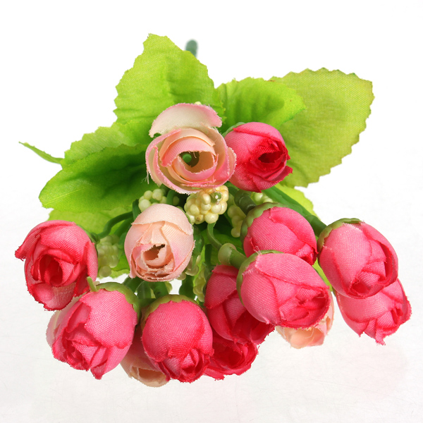 15 Head Artificial Silk Rose Flower Leaf Home Wedding Party Decor Bridal Bouquet
