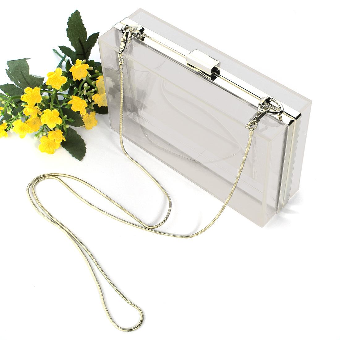 Fashion Women Transparent Acrylic Shoulder Chain Clutch Evening Bag Handbag