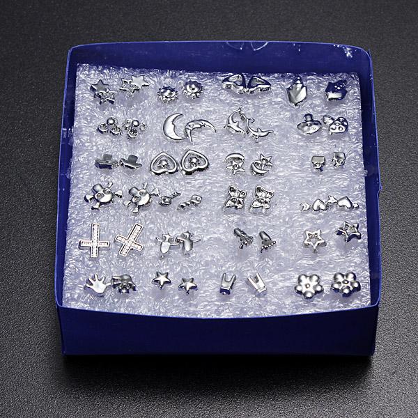 Boîte Lot 20/24 Paires Boucles D'oreilles Clou Strass Cristal Bijoux Earrings