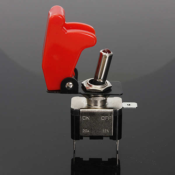 12v Illuminated LED ON/OFF Toggle Switch + Aircraft Missile Style Flip Up Cover