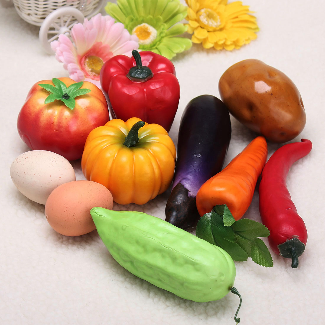1pc red pumpkin vegetable decorative plastic home for Artificial fruits for decoration