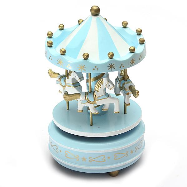man ge musical chevaux bois carrousel boite musique. Black Bedroom Furniture Sets. Home Design Ideas