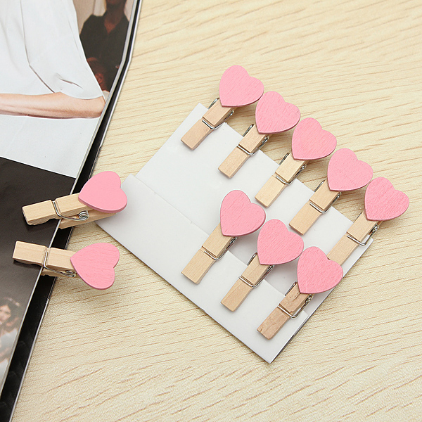 10pcs wooden mini clip wood pegs kids crafts party wedding for Craft supplies wooden shapes